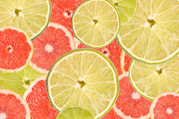 Grapefruit And Lime Slice Abstract Seamless Pattern