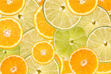 Orange And Lime Slice Abstract Seamless Pattern