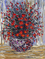 Still life oil. Small bouquet of red flowers in round vase