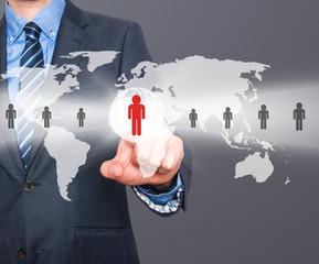 Businessman touching human resources sign - HR, HRM, HRD concept