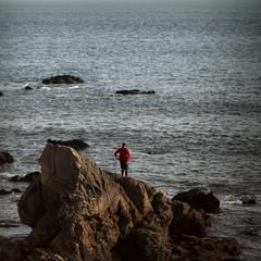 Promeneur face à l'océan.