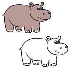 Cartoon hippo. Coloring book. Vector illustration