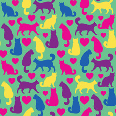 Seamless pattern with cats and hearts