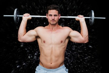 Composite image of bodybuilder lifting barbell