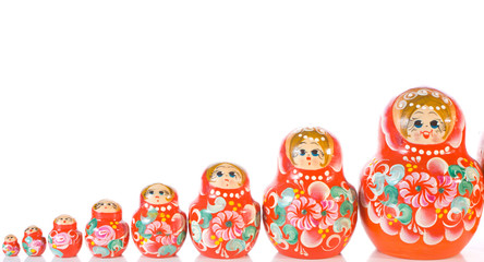 Russian souvenir Matryoshka toy dolls white background