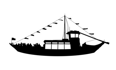 touristic ship profile view