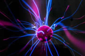 Plasma ball  with magenta-blue