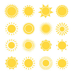 Sun icons collection. Vector illustration
