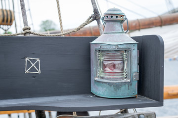 Old copper sailing boat's lamp