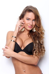 Sexy brunette posing in lingerie