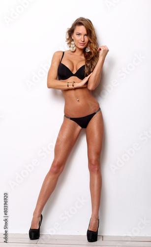 """""""Standing lingerie model in high heels"""" photo libre de ..."""