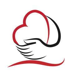 Logo Heart and hand.Concept of love helping and charity
