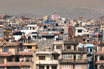 Mountain and view of city Kathmandu in Nepal