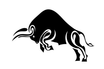 Bull in profile standing on its hind legs. Vector illustration.
