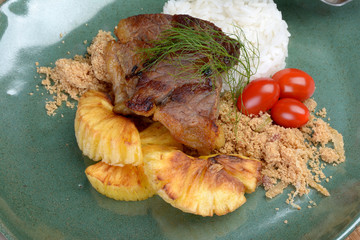 brazilian jerked beef with cassava, toasted manioc flour and ric