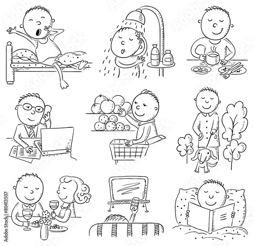"""Cartoon Man Daily Activities"" Imagens e vetores de stock ..."