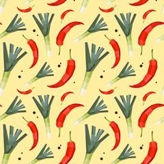 Vintage polygon leek hot pepper pattern