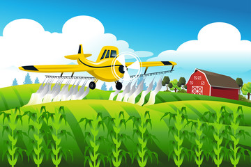 Crop duster flying over a field