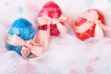 Easter Eggs Decorated with Bows