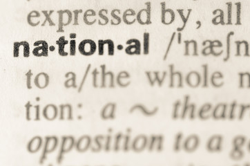 Dictionary definition of word national