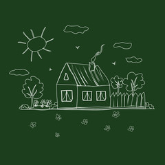 Children's drawing of a house on the board. Vector illustration