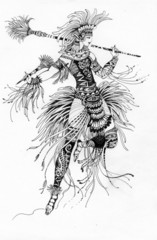 Watercolor illustration of ancient warrior on white background