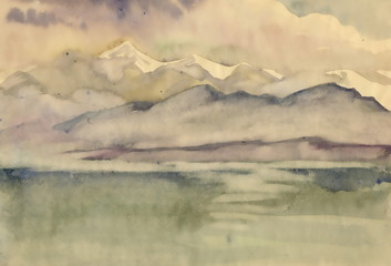 Watercolor river and mountains nature landscape