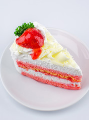 Strawberry cheese cake on white background