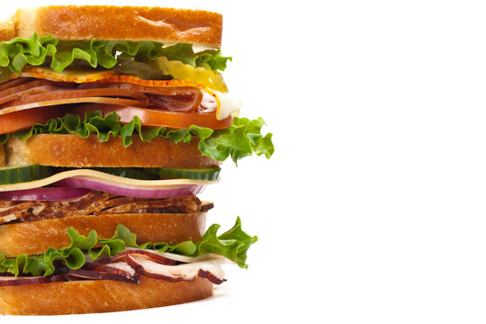 Sandwich on white background. Selective focus.