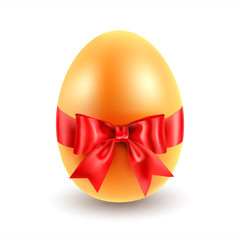 Golden Easter egg with bow. Vector
