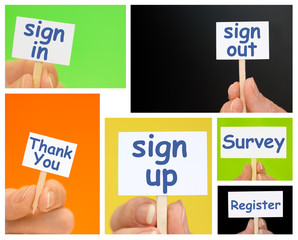 Hand holding Little Signs with online sign up, register