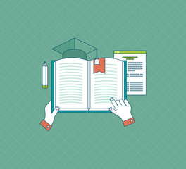Flat design modern vector illustration icons set of education
