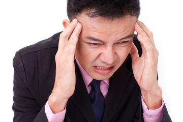 businessman suffers from sickness, severe headache