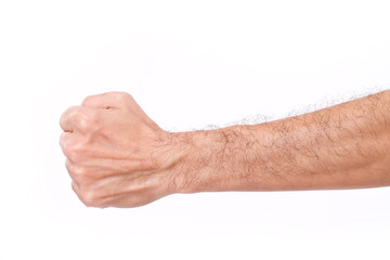 man's fist with hairy arm