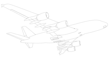 Sketch of airplane. Bottom view. Vector Illustration