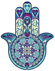 Hamsa hand.Decorative vector hand