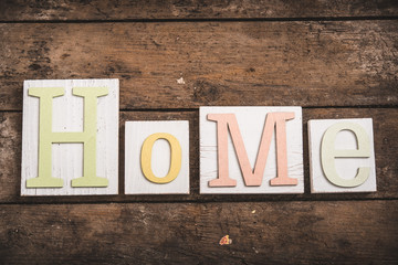 Home sweet home, wooden text on vintage board background