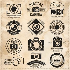 Photography vintage retro badges, labels and icons set.