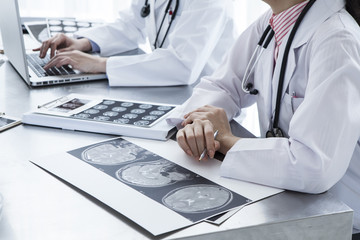 Doctors working in medical office