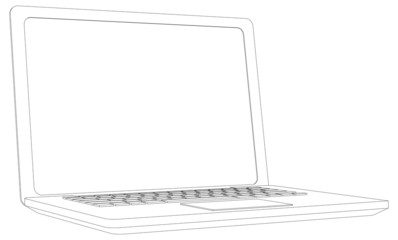 Wire-frame open laptop. Perspective view. Vector illustration