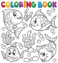 Coloring book piranha fishes theme 1
