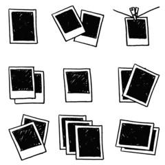 Retro frame isolated on white background, doodle blank polaroid