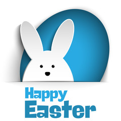 Happy Easter Rabbit Bunny on White Background