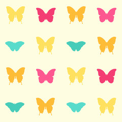 Seamless vintage colorful butterfly pattern