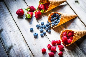 Berries in waffle cones