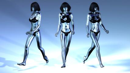 Digital 3D Illustration of walking Manikins