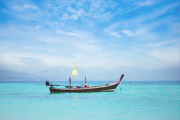 long boat on the sea