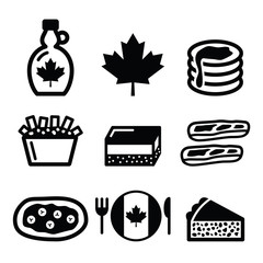 Canadian food icons - maple syrup, poutine, nanaimo bar