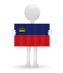 small 3d man holding a flag of Principality of Liechtenstein