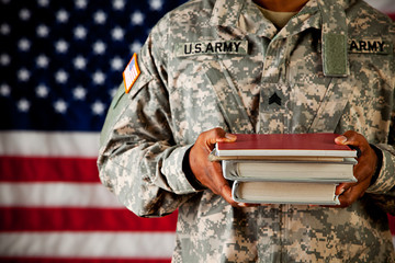 Soldier: Student Holding Stack of School Books